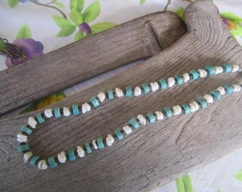 unisex puka shell necklace with stone bead and coconut beads, surfer jewelry, island style