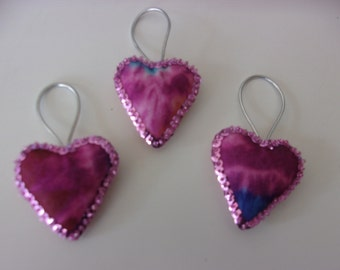 "Set of 3 Handmade Tie Dye Felt and Sequin Heart  Ornaments  2x2"" PINK"