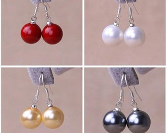 free shipping - shell pearl earrings, 12 mm shell pearl earrings, red/white/yellow/dark gray shell pearl earrings