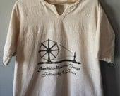 Vintage Flax Linen Gandhi Memorial Center Loose Fit Shirt, Size 42