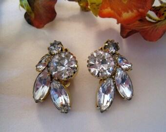 """Vintage Rhinestone Clip Earrings - 1-1/8"""" long - Elegant - Faceted"""