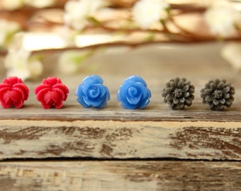 Flower Earring Studs Trio: Blue Rose, Grey Daisy, Fuchsia Rose Bud