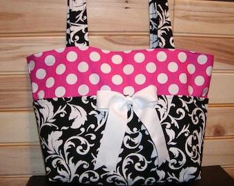 READY To Ship Diaper bag, handbag, purse, book bag..Black Scroll N Hot Pink Dots..Size is 10x12 Inches