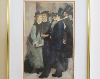 Vintage framed Renoir print in brass frame - Leaving The Conservatoire - c.1994 - painting, art, wall art, impressionism, french artist
