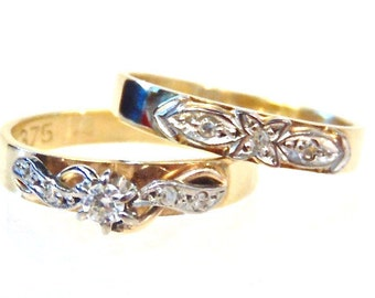 Sale! Diamond Engagement Wedding Ring Set in 9K Yellow Gold, Pinky Rings