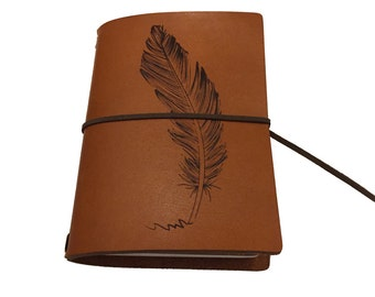 Leather traveler notebook brandy, leather with engraved feather, passport size, customized engraving also possible, refillable