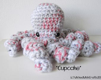 Cupcake the Octopus : handmade crochet stuffed pink and gray toy