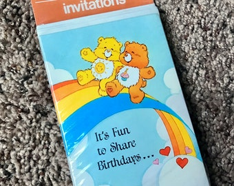 Vintage Care Bear Birthday Party Invitations
