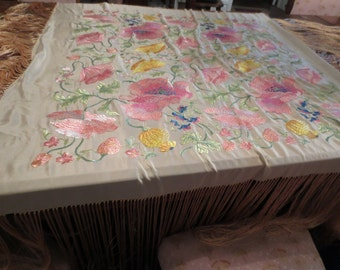 Fantastic FLORAL Machine EMBROIDERED Fringed SHAWL