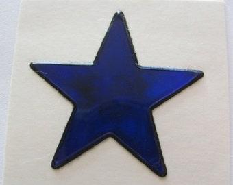 ON SALE Vintage Mystiks Oilie Liquid Star Sticker - 80's Oily Cobalt Blue Cerulean Indigo Celestial Scrapbook