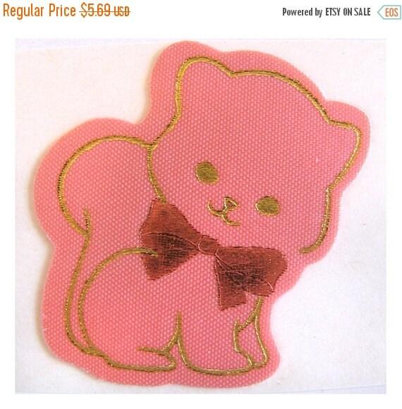 ON SALE Rare Vintage Satin Pink Kitten with Pink Bow Sticker - 80's Gold Metallic Cat Kitty Feline Collectible