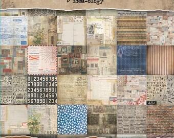 """Tim Holtz Idea-Ology Paper Stash Double-Sided Paper Pad 8""""X8"""" 36/Pkg - Etcetera"""
