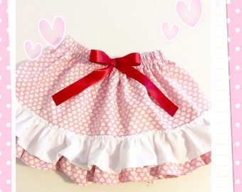 Pink  and white hearts valentine skirt for girls