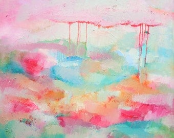 Abstract original bright painting colourful oil on canvas red pink light blue