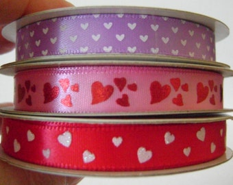 Destash of 3 Rolls of Ribbon With Hearts