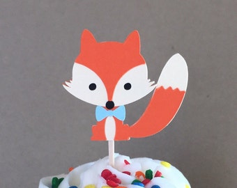 Set of 12 fox with blue bow tie cupcake toppers boy baby shower birthday