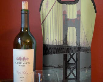 Wine Bag BYOB | Golden Gate Bridge San Francisco | Two Bottle Neoprene Wine Carrier Tote |  Bar Accessory | Custom Available