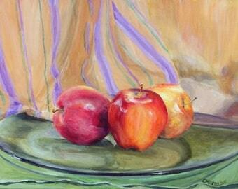 Original Acrylic Still Life Painting Apples on Glass