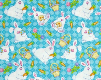 Easter Bunny on Turquoise From Henry Glass's Hippity Hop Collection