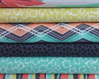 Coral and Mint Giraffe Migration Bundle from Michael Miller (6 Fabrics)