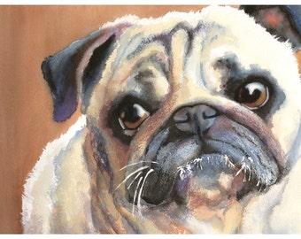"5x7"" Pug Watercolor Giclee Fine Art Print [Watercolor Pet Portrait Print, Pug Art, Watercolor Print, Pug Wall Art, Pug Decor]"