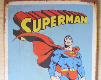Retro Style Superman Tin Sign, Metal Advertisement, DC Comics Super Hero, Vintage Reproduction, Metal Ad Sign Display, Decorative Tin Sign