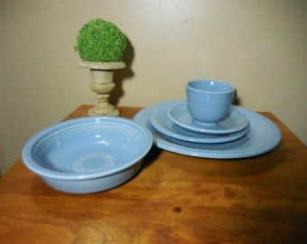 Vintage Fiesta Ware Periwinkle blue five piece place setting