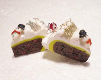 Christmas Cake Earrings. Polymer clay.