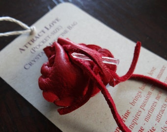 Attract Love Handmade Pocket Size Crystal Mojo Medicine Bag