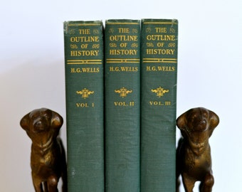 The Outline of History H.G. Wells three volume set