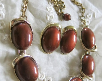 Vintage jewelery set Brown and gold
