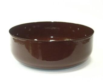 Large Brown Enamel Mixing Serving Bowl -Mid Century Modern Dansk Era Enamelware