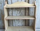 Wooden Wall shelf three shelves primitive shabby chic white shelf Hanging Vintage wood Shelf
