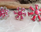 Pink Cocktail Ring Lot, Paste Rhinestones Silver Tone Rings Size 6 - 8