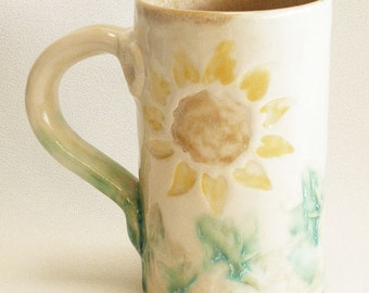 Sun flower ceramic coffee mug 16oz stoneware 16B098