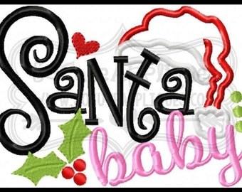 Santa Baby Christmas shirt - girls christmas design - Santa shirt - Santa shirt design - christmas outfit - monogrammed shirt