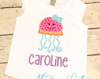 Jellyfish Applique with Bow - Summer Applique Design - Girl's shirt - Monogram or Name included
