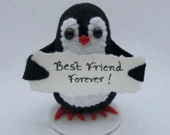 Marcie the Messenger Penguin - Penguin Cake Topper - Handmade Felt Penguin
