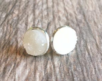 White Druzy Earrings,  Resin Druzy Earrings, Gemstone Earrings, Druzy Stud Earrings, Silver Druzy Jewelry
