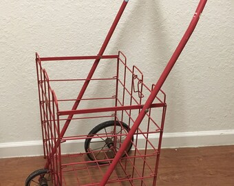 Vintage Wire Shopping Cart • vintage wire laundry hamper