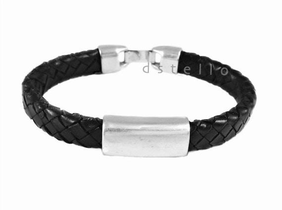 Men's leather bracelet, Spanish braided bracelet, mens leather jewelry, gift for him, dark brown, black, customized cuff,