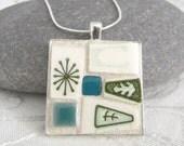 Retro ATOMIC Mosaic Pendant - Square Jewelry Necklace - Broken China