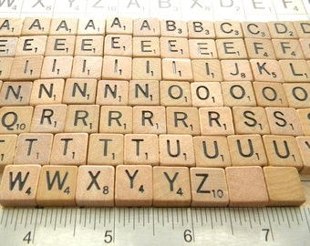 100 VINTAGE MINI Dark Wood Scrabble Tiles for Jewelry, Altered Art, Collage, Scrapbooking or Mosaics