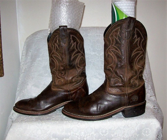 Vintage Men S Brown Leather Cowboy Boots By Double H Size