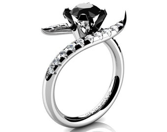 Andromeda 14K White Gold 1.0 Ct Black and White Diamond Engagement Ring R429-14KWGDBD