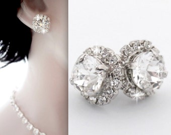 Crystal stud earrings ~ Swarovski, Halo, Crystal earrings, Brides earrings, Wedding earrings, Bridesmaids jewelry, Bridal jewelry ~ SOPHIA