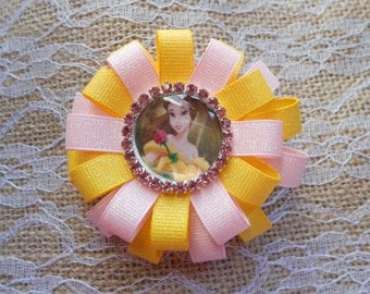 Belle Beauty and the Beast loopy flower hair bow.