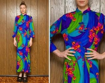 Vintage 60s 70s Sun Fashions Hawaii Kawaii Neon Green Blue Pink Orange Asian Japanese Chinese Cheongsam Long Sleeve MuMu Dress M