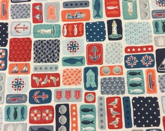 Makower 1769 Marina Montage cotton craft fabric by the half metre