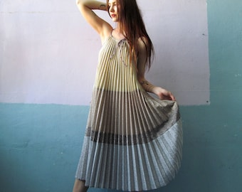 Vtg 70s Accordion Pleated Dress / Bonwit Teller / Avant Garde / Giorgio Sant'Angelo / Metallic Knit Disco Dress